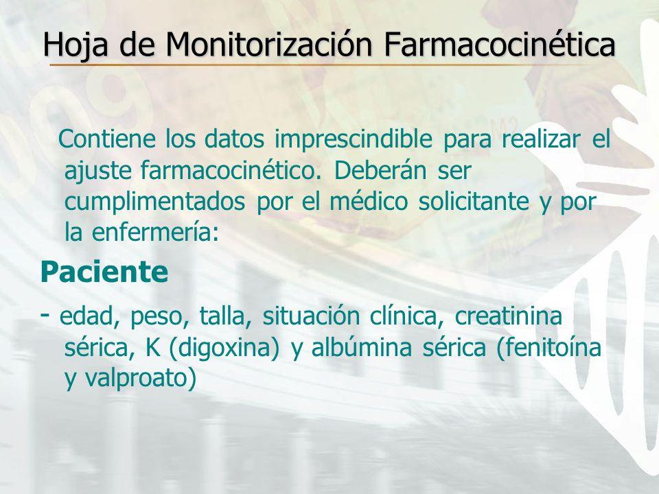 Hoja de Monitorización Farmacocinética Contiene los datos imprescindible para realizar el ajuste farmacocinético. Deberán ser cumplimentados por el mé