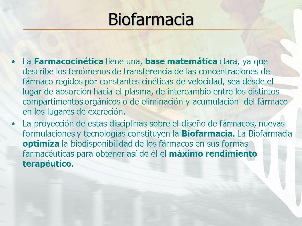 Biofarmacia La Farmacocinética tiene una, base matemática clara, ya que describe los fenómenos de transferencia de las concentraciones de fármaco regi