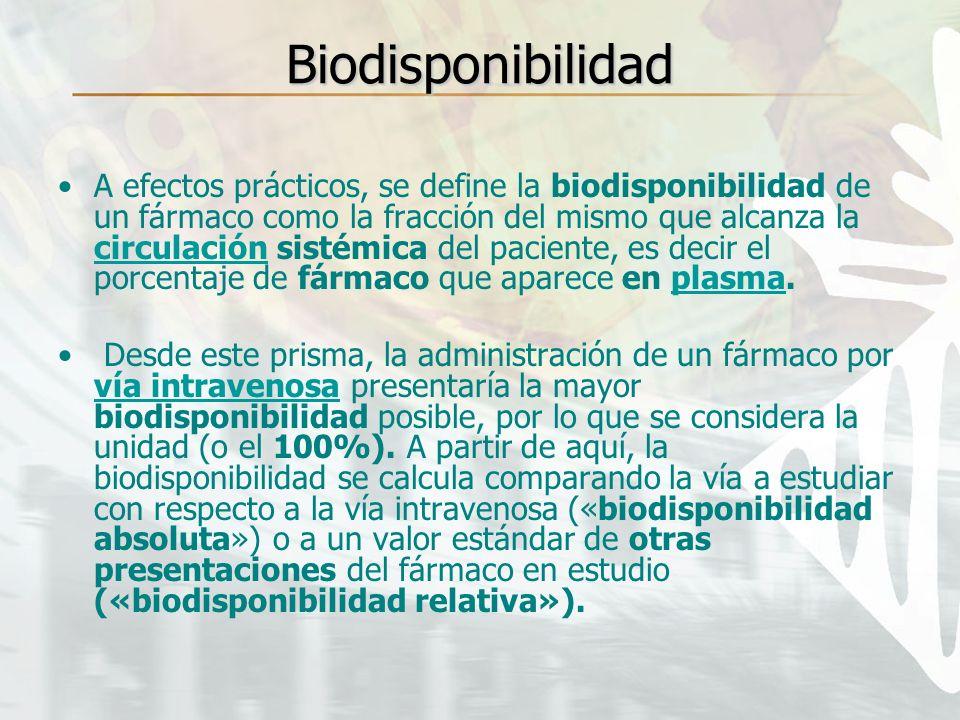 Biodisponibilidad A efectos prácticos, se define la biodisponibilidad de un fármaco como la fracción del mismo que alcanza la circulación sistémica de