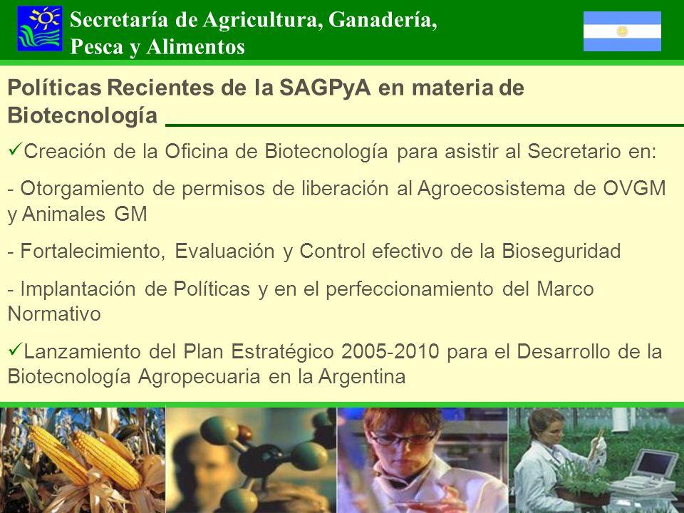 Políticas Recientes de la SAGPyA en materia de Biotecnología Creación de la Oficina de Biotecnología para asistir al Secretario en: - Otorgamiento de