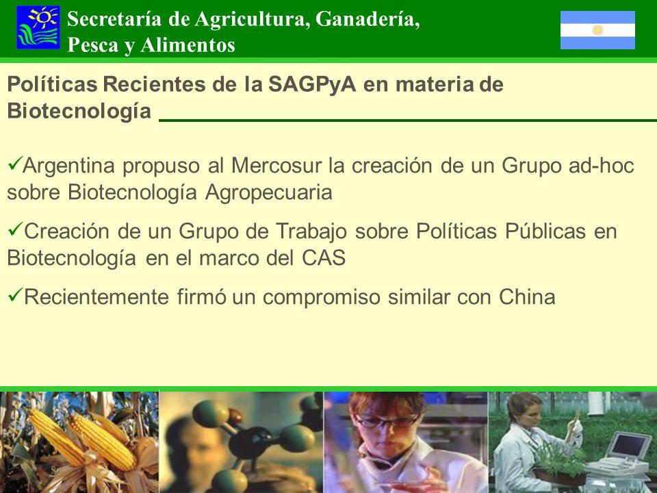 Políticas Recientes de la SAGPyA en materia de Biotecnología Argentina propuso al Mercosur la creación de un Grupo ad-hoc sobre Biotecnología Agropecu