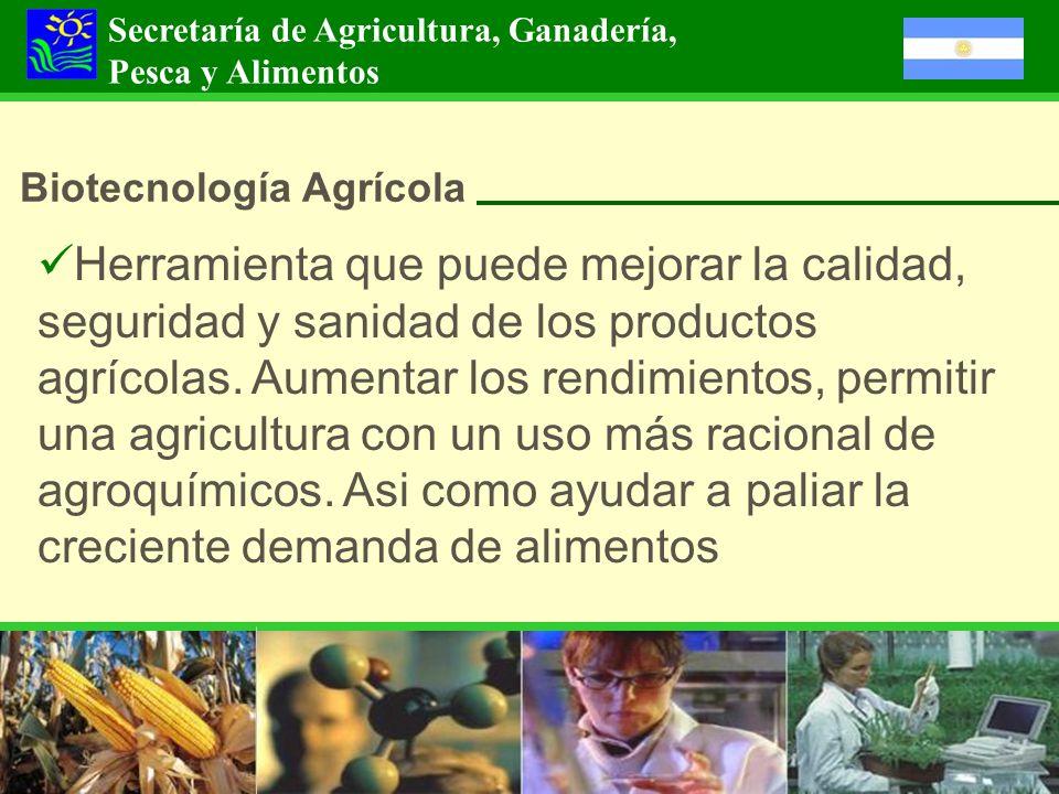 Secretaría de Agricultura, Ganadería, Pesca y Alimentos Biotecnología Agrícola Herramienta que puede mejorar la calidad, seguridad y sanidad de los pr