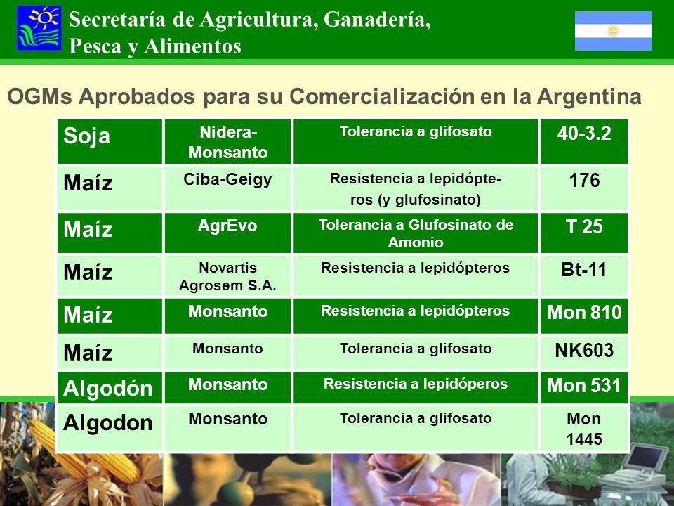 OGMs Aprobados para su Comercialización en la Argentina Secretaría de Agricultura, Ganadería, Pesca y Alimentos Soja Nidera- Monsanto Tolerancia a gli