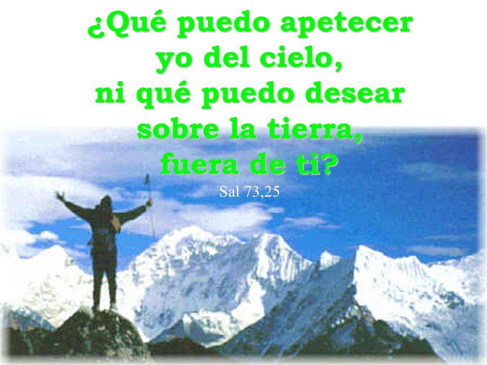 ¿Qué puedo apetecer yo del cielo, ni qué puedo desear sobre la tierra, fuera de ti? Sal 73,25