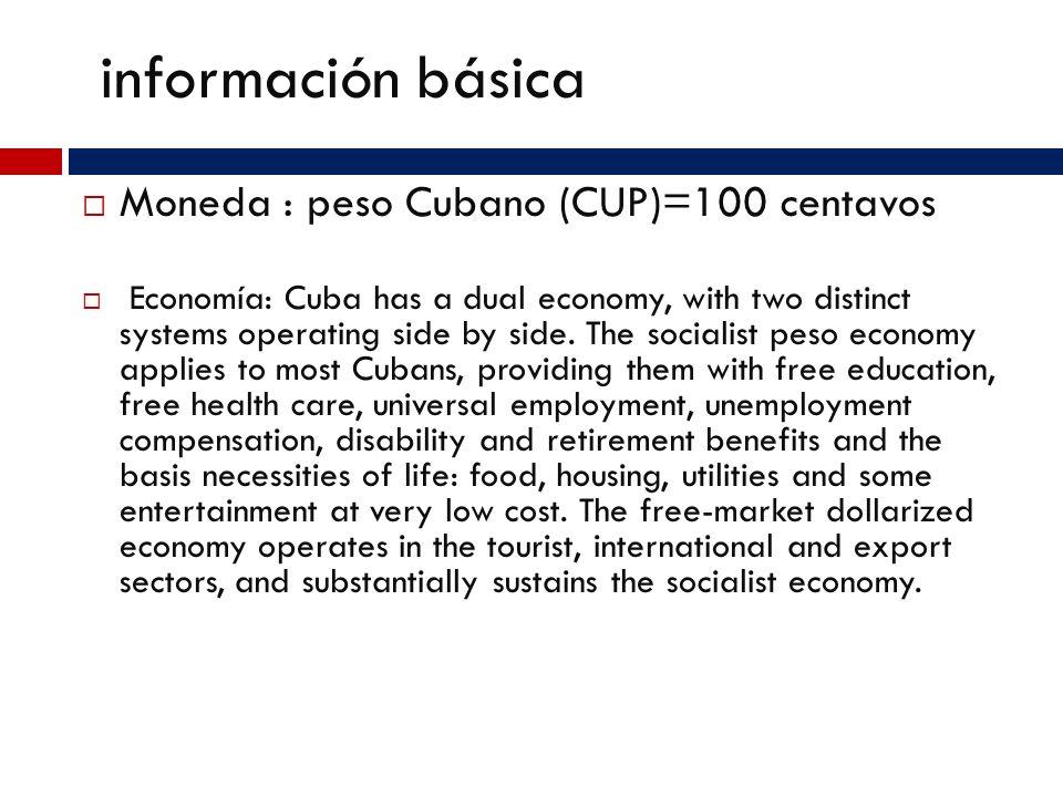 Información básica La capital de Cuba es la Habana La población actual del país es de 11,308,764 El clima en Cuba es, En general es bastante aceptado