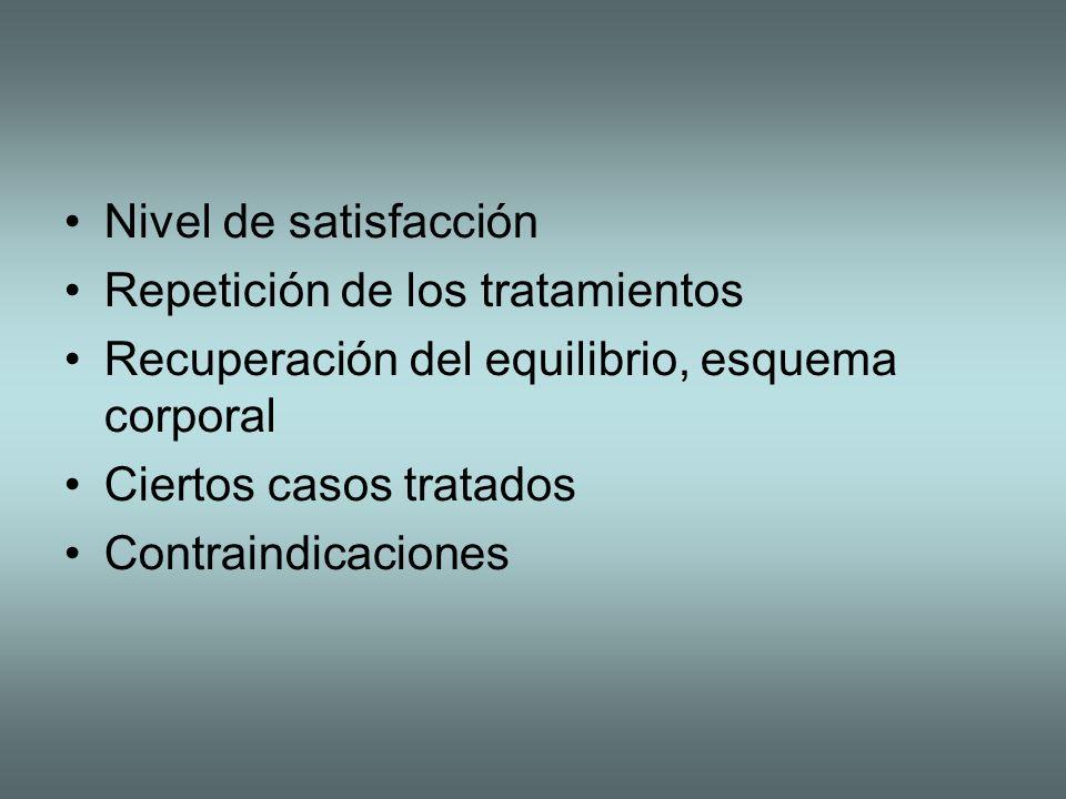 Nivel de satisfacción Repetición de los tratamientos Recuperación del equilibrio, esquema corporal Ciertos casos tratados Contraindicaciones