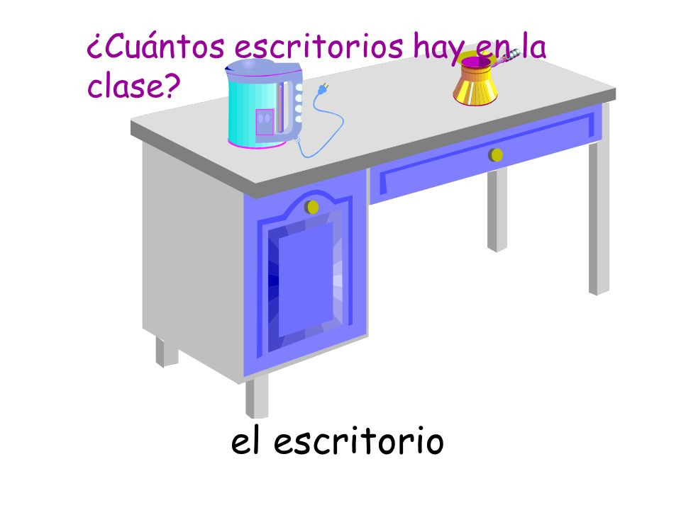 el escritorio ¿Cuántos escritorios hay en la clase?