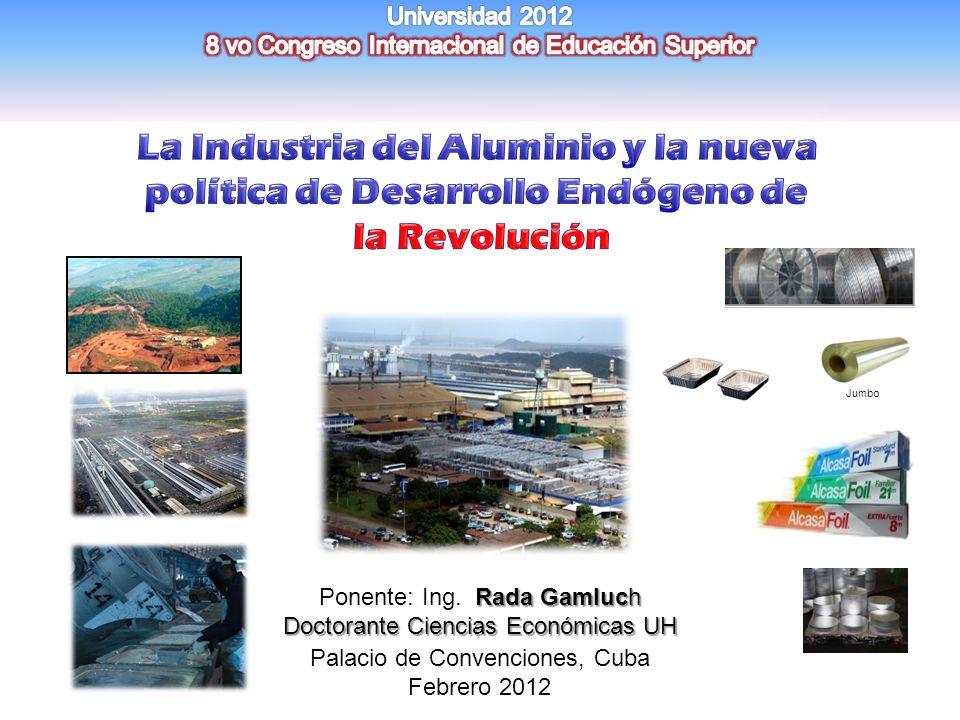 CONTENIDO INTRODUCCION INTRODUCCION EL ALUMINIO: RED DE DESARROLLO SOCIAL PRODUCTIVO EL ALUMINIO: RED DE DESARROLLO SOCIAL PRODUCTIVO UNA NUEVA POLITICA PARA EL DESARROLLO SOSTENIBLE UNA NUEVA POLITICA PARA EL DESARROLLO SOSTENIBLE LA INDUSTRIA DEL ALUMINIO COMO PALANCA DEL DESARROLLO ENDOGENO LA INDUSTRIA DEL ALUMINIO COMO PALANCA DEL DESARROLLO ENDOGENO CONCLUSIONES Y RECOMENDACIONES CONCLUSIONES Y RECOMENDACIONES