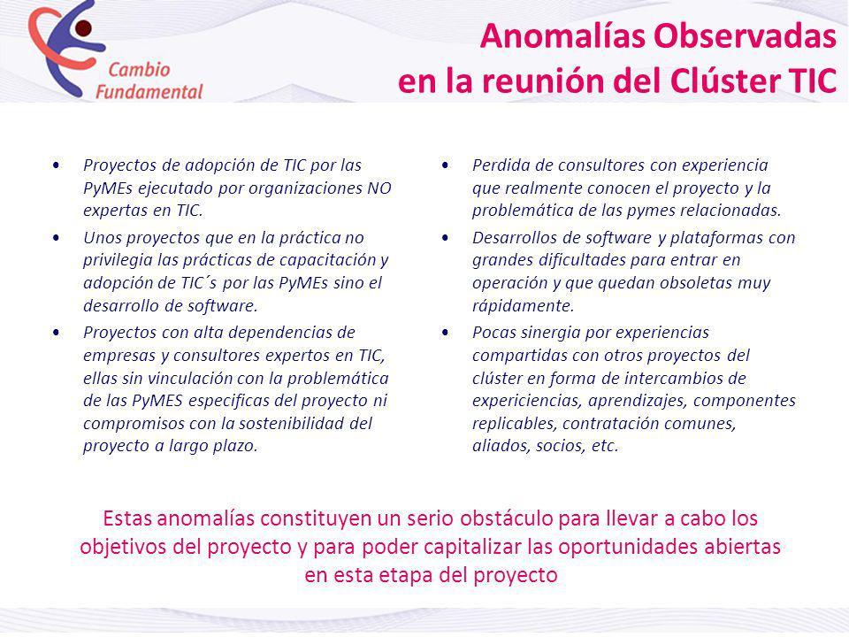 Anomalías Observadas en la reunión del Clúster TIC Proyectos de adopción de TIC por las PyMEs ejecutado por organizaciones NO expertas en TIC.