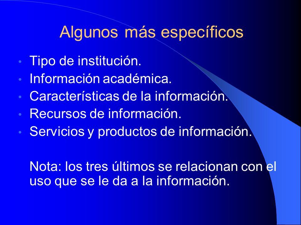 Algunos aspectos a estudiar Los temas (disciplinas y especialidades) de interés para la organización.