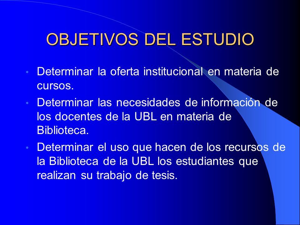 Areas de interés para el estudio El programa institucional en oferta. Los docentes. Las tesis.