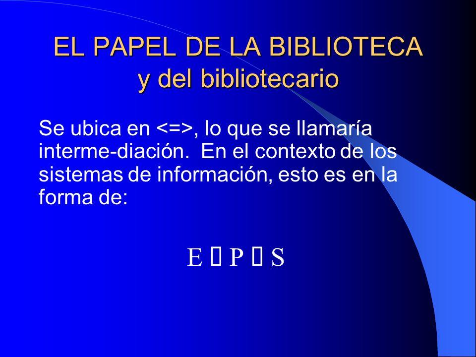 EL PAPEL DE LA BIBLIOTECA y del bibliotecario Se ubica en, lo que se llamaría interme-diación.