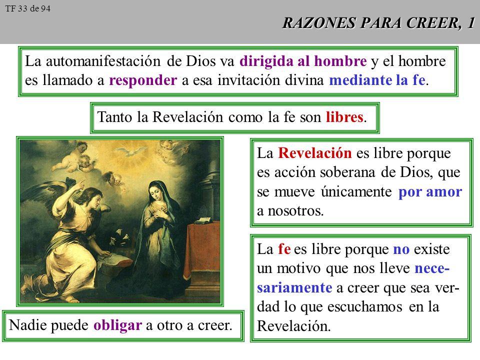 RAZONES PARA CREER, 1 La automanifestación de Dios va dirigida al hombre y el hombre es llamado a responder a esa invitación divina mediante la fe. Ta