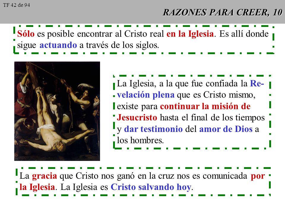 RAZONES PARA CREER, 10 Sólo es posible encontrar al Cristo real en la Iglesia. Es allí donde sigue actuando a través de los siglos. La Iglesia, a la q