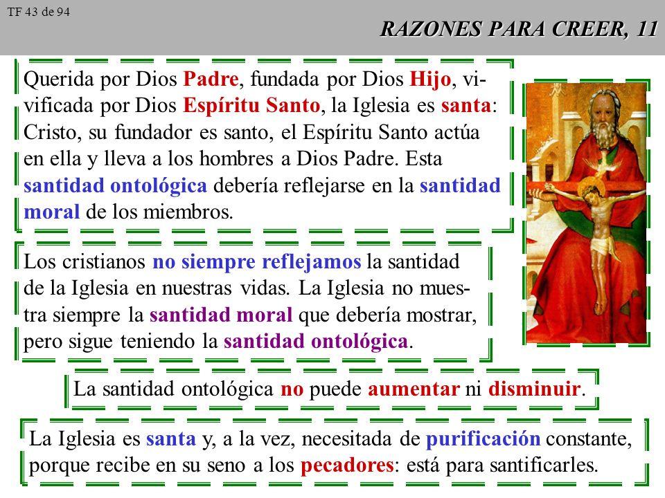 RAZONES PARA CREER, 11 Querida por Dios Padre, fundada por Dios Hijo, vi- vificada por Dios Espíritu Santo, la Iglesia es santa: Cristo, su fundador e