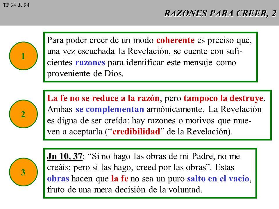 RAZONES PARA CREER, 2 1 Para poder creer de un modo coherente es preciso que, una vez escuchada la Revelación, se cuente con sufi- cientes razones par