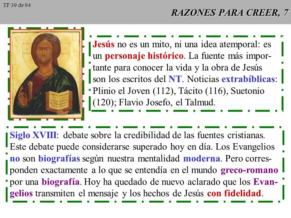 RAZONES PARA CREER, 7 Jesús no es un mito, ni una idea atemporal: es un personaje histórico. La fuente más impor- tante para conocer la vida y la obra