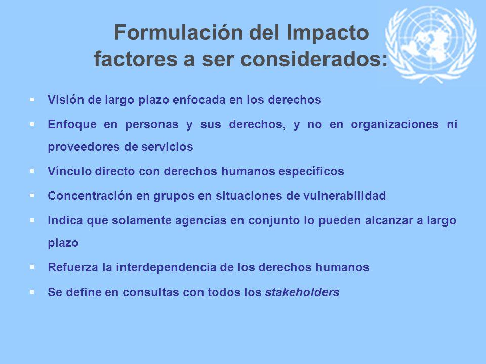 Formulación del Impacto factores a ser considerados: Visión de largo plazo enfocada en los derechos Enfoque en personas y sus derechos, y no en organi