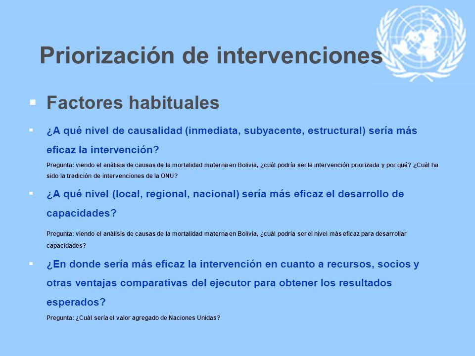 Priorización de intervenciones Factores habituales ¿A qué nivel de causalidad (inmediata, subyacente, estructural) sería más eficaz la intervención? P