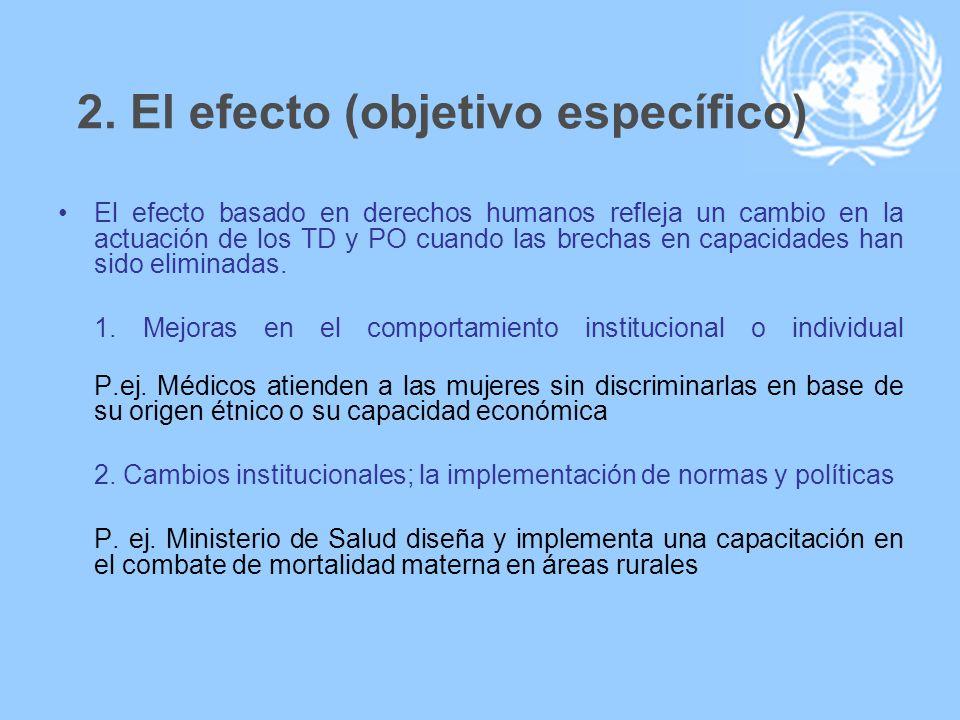2. El efecto (objetivo específico) El efecto basado en derechos humanos refleja un cambio en la actuación de los TD y PO cuando las brechas en capacid