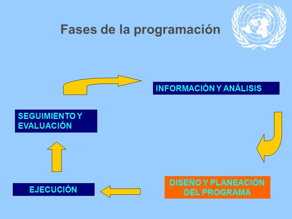INFORMACIÓN Y ANÁLISIS DISEÑO Y PLANEACIÓN DEL PROGRAMA EJECUCIÓN SEGUIMIENTO Y EVALUACIÓN Fases de la programación