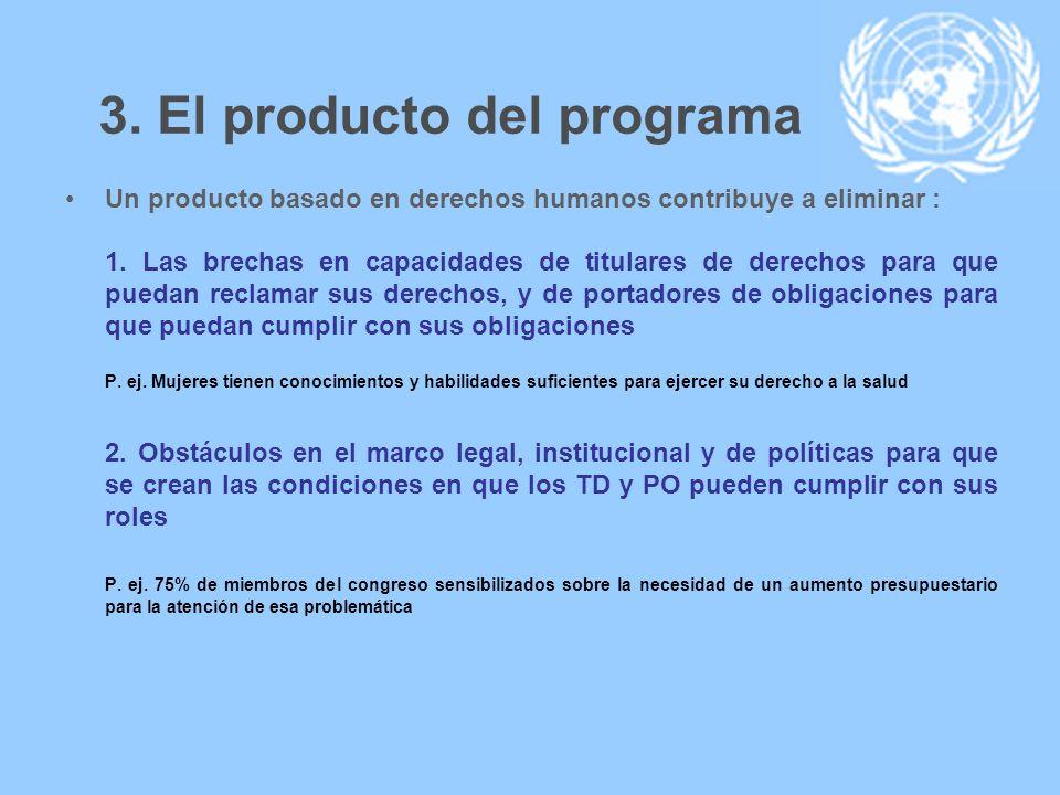3. El producto del programa Un producto basado en derechos humanos contribuye a eliminar : 1. Las brechas en capacidades de titulares de derechos para