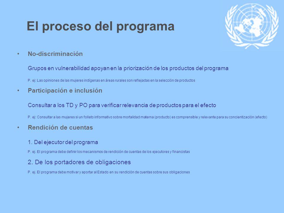 El proceso del programa No-discriminación Grupos en vulnerabilidad apoyan en la priorización de los productos del programa P. ej: Las opiniones de las