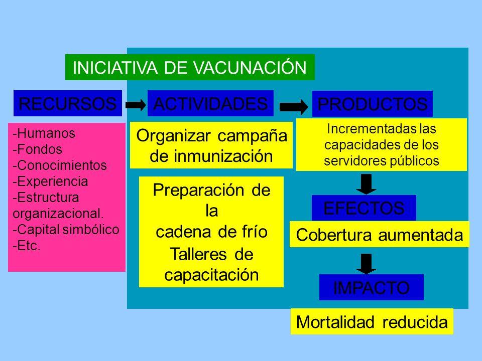RECURSOS -Humanos -Fondos -Conocimientos -Experiencia -Estructura organizacional. -Capital simbólico -Etc. Organizar campaña de inmunización ACTIVIDAD