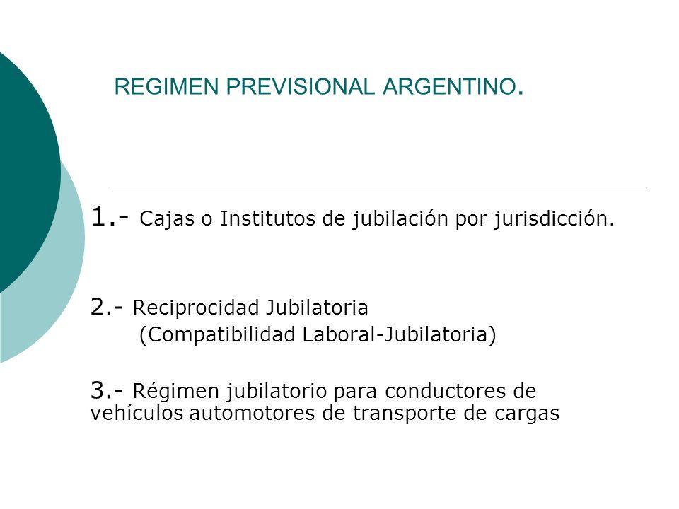 REGIMEN PREVISIONAL ARGENTINO. 1.- Cajas o Institutos de jubilación por jurisdicción. 2.- Reciprocidad Jubilatoria (Compatibilidad Laboral-Jubilatoria