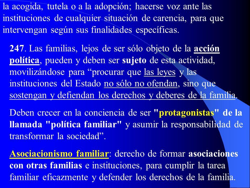 IV. La Familia protagonista de la vida social a) Solidaridad familiar 246. La familia nace del amor y crece en él: la solidaridad pertenece a la famil