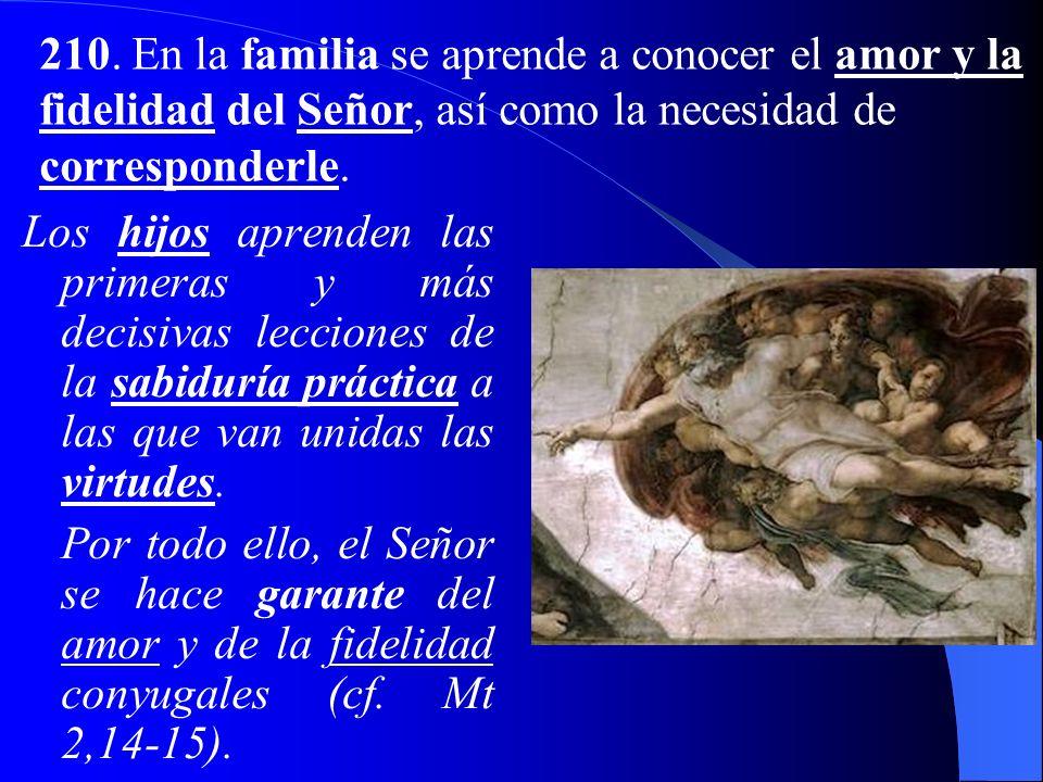 Eva es creada semejante a Adán, como aquella que, en su alteridad, lo completa (cf. Gn 2,18) para formar con él una sola carne. La familia es consider
