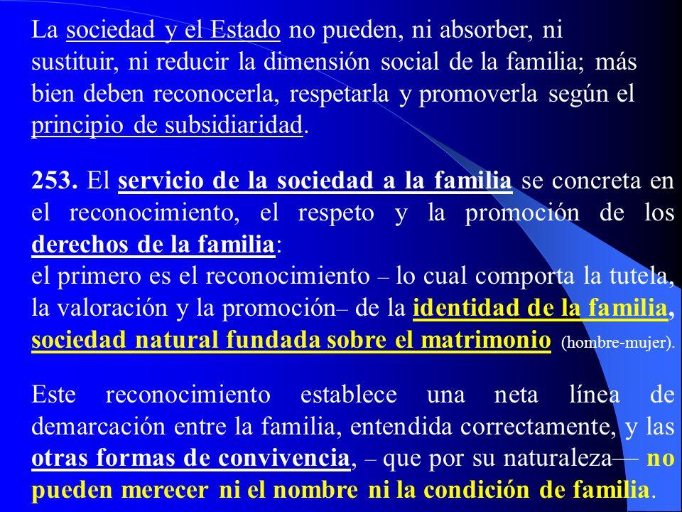 V. La sociedad al servicio de la familia 252. Lo primero para una relación correcta entre la familia y la sociedad es el reconocimiento de la priorida