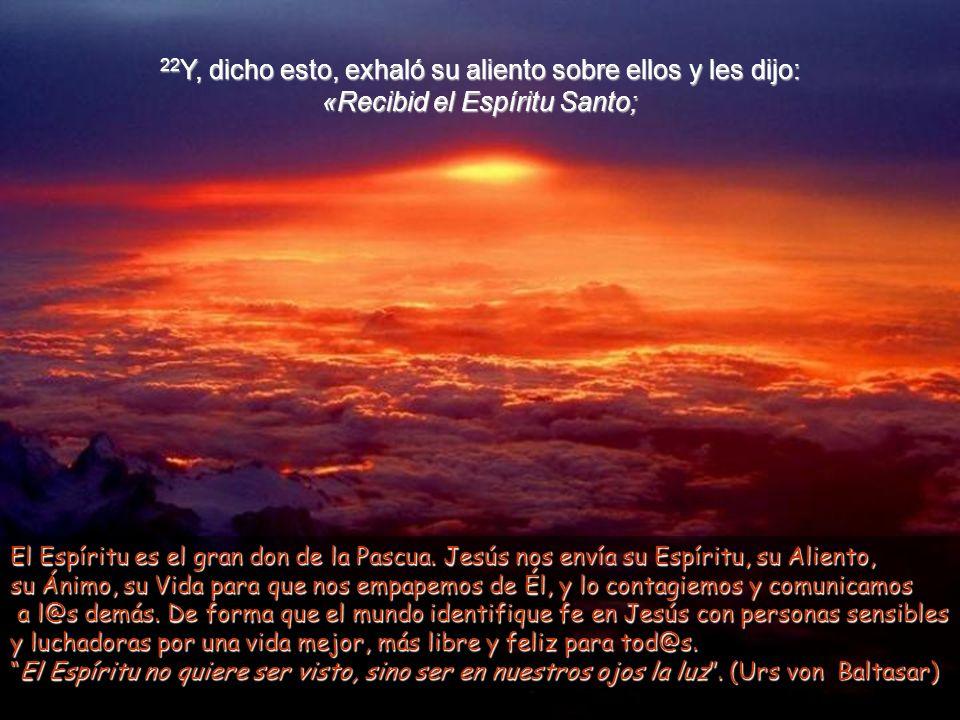 20 Y, diciendo esto, les enseñó las manos y el costado. Y los discípulos se llenaron de alegría al ver al Señor. 21 Jesús repitió: «Paz a vosotros. Co