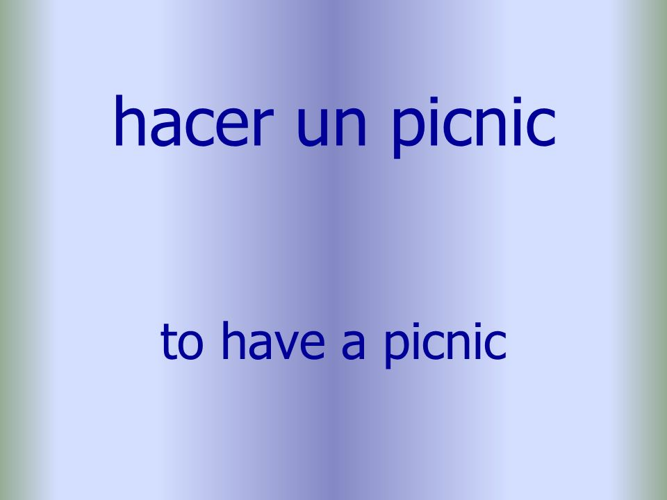 hacer un picnic to have a picnic