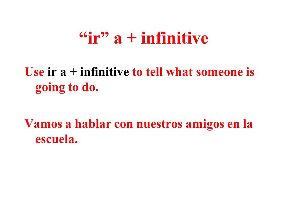The verb ir (to go) Use ir to say where someone is going: voy vas va vamos van
