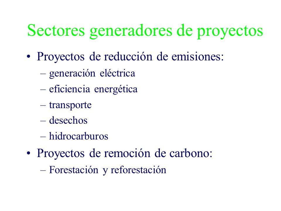 Sectores generadores de proyectos Proyectos de reducción de emisiones: –generación eléctrica –eficiencia energética –transporte –desechos –hidrocarburos Proyectos de remoción de carbono: –Forestación y reforestación