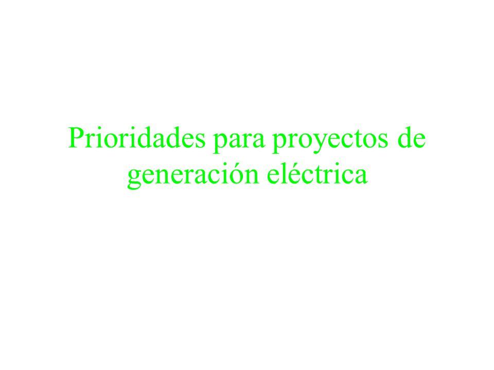 Prioridades para proyectos de generación eléctrica