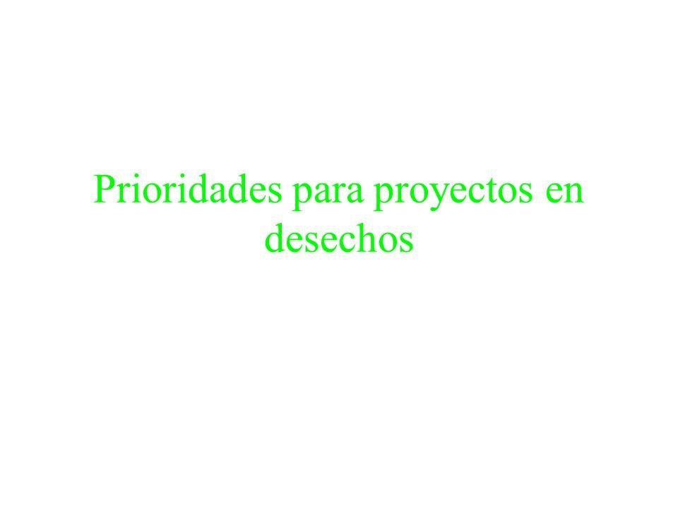 Prioridades para proyectos en desechos