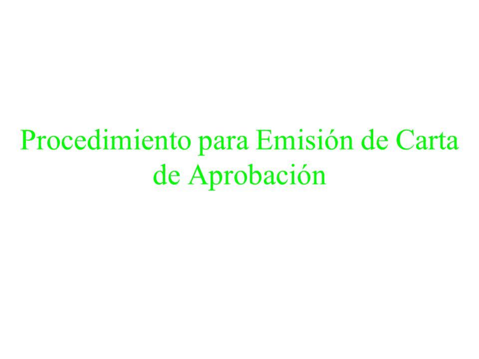 Procedimiento para Emisión de Carta de Aprobación