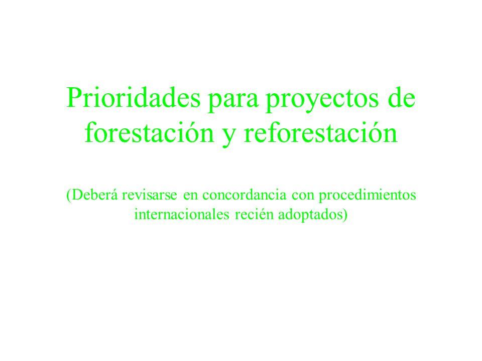 Prioridades para proyectos de forestación y reforestación (Deberá revisarse en concordancia con procedimientos internacionales recién adoptados)