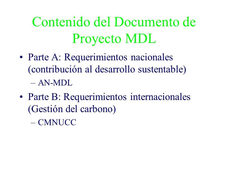 Contenido del Documento de Proyecto MDL Parte A: Requerimientos nacionales (contribución al desarrollo sustentable) –AN-MDL Parte B: Requerimientos internacionales (Gestión del carbono) –CMNUCC