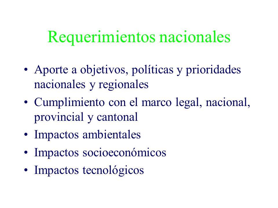 Requerimientos nacionales Aporte a objetivos, políticas y prioridades nacionales y regionales Cumplimiento con el marco legal, nacional, provincial y cantonal Impactos ambientales Impactos socioeconómicos Impactos tecnológicos