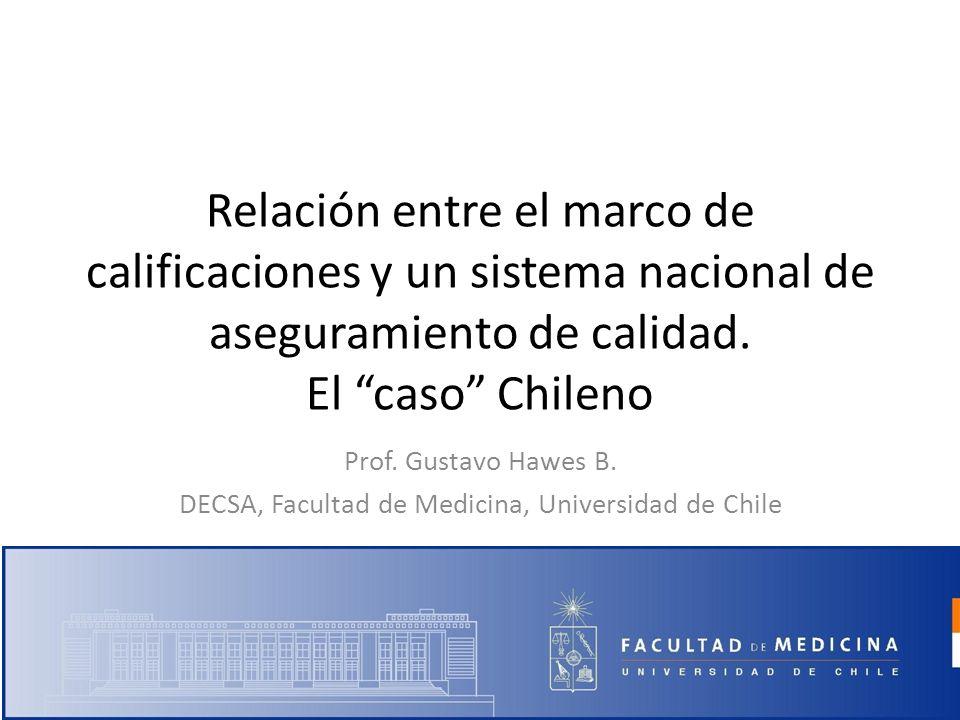 Relación entre el marco de calificaciones y un sistema nacional de aseguramiento de calidad. El caso Chileno Prof. Gustavo Hawes B. DECSA, Facultad de