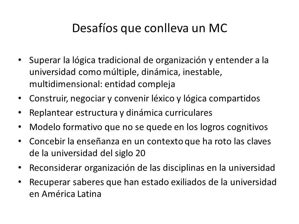 Desafíos que conlleva un MC Superar la lógica tradicional de organización y entender a la universidad como múltiple, dinámica, inestable, multidimensi