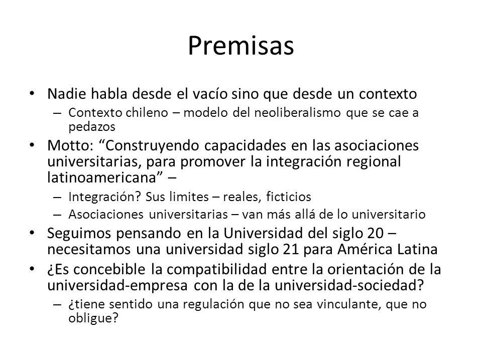 Premisas Nadie habla desde el vacío sino que desde un contexto – Contexto chileno – modelo del neoliberalismo que se cae a pedazos Motto: Construyendo