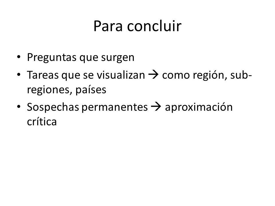 Para concluir Preguntas que surgen Tareas que se visualizan como región, sub- regiones, países Sospechas permanentes aproximación crítica