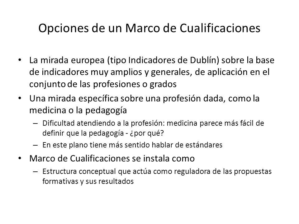 Opciones de un Marco de Cualificaciones La mirada europea (tipo Indicadores de Dublín) sobre la base de indicadores muy amplios y generales, de aplica