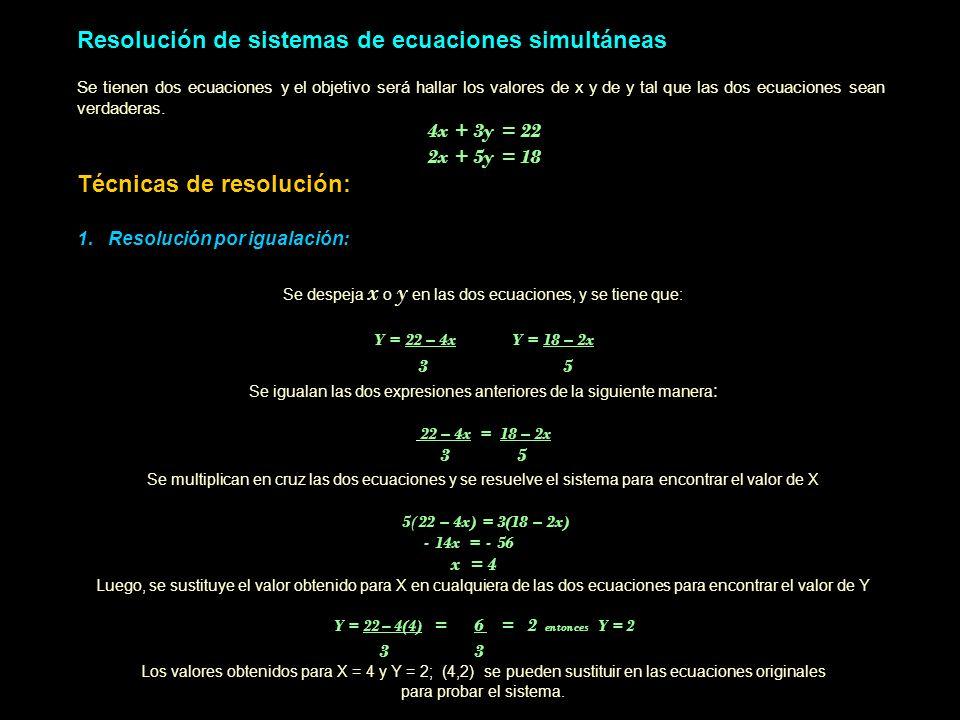 Resolución de sistemas de ecuaciones simultáneas Se tienen dos ecuaciones y el objetivo será hallar los valores de x y de y tal que las dos ecuaciones