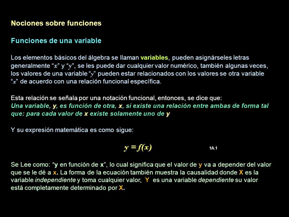 Nociones sobre funciones Funciones de una variable Los elementos básicos del álgebra se llaman variables, pueden asignárseles letras generalmente x y