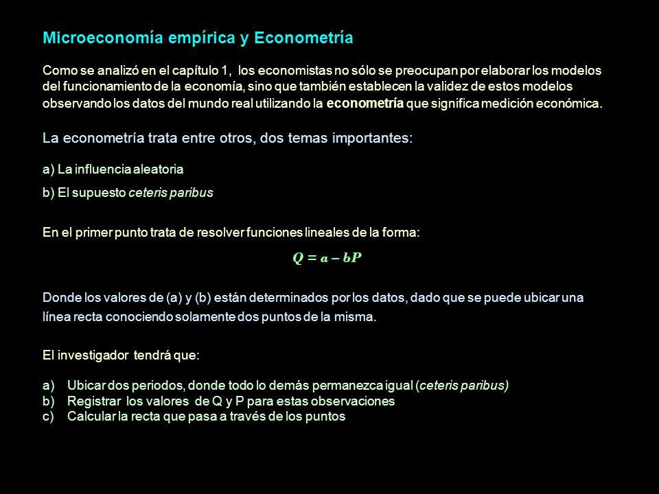 Microeconomía empírica y Econometría Como se analizó en el capítulo 1, los economistas no sólo se preocupan por elaborar los modelos del funcionamient